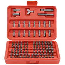 100 Piece Security Bits Set with Hard Storage Case Metric and SAE Standard Torx Star Tamper Hex Phillips Slotted Tri Wing