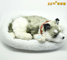 simulation animal about 28cm husky dog plush toy breathing snoring dog with mat ,birthday gift w5906