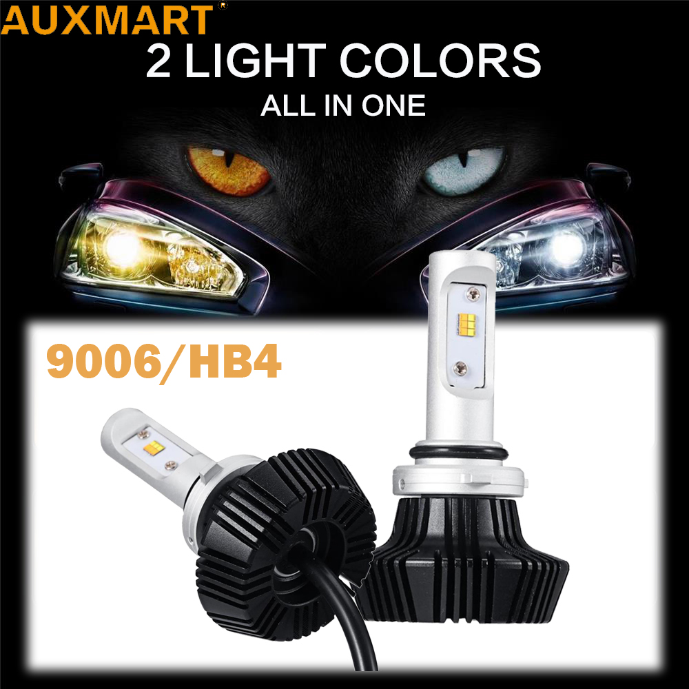 Auxmart 7HL 9006 HB4 Car LED Headlight Bulbs Yellow Light 3000K White Light 6500K 50W 8000lm CSP Chips Headlamp Fog Lights<br>