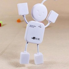 Best Price Mini Lovely White Human Doll Shape High Speed USB 4 ports Hub For PC Computer Laptop Splitter Drop Shipping