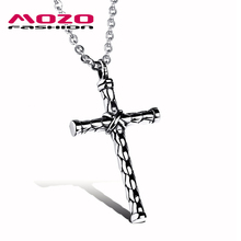 Wholesale 2016 New Fashion Men's Jewelry Silver Cross Chain Stainless Steel Pendants & Necklaces Man Vintage Accessories MGX973(China)