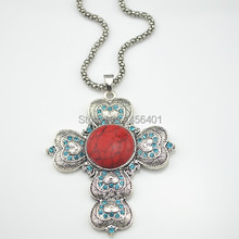 L230 Payer Cross Crystal Rhinestone  Tiger Stone Necklace 1 Piece Pendant Fashionable Jewelry Factory Price Wholesale