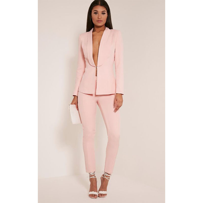 238 New Light Pink 2017 fashion womens business suits ladies elegant formal pant suits for weddings female trouser suits Custom