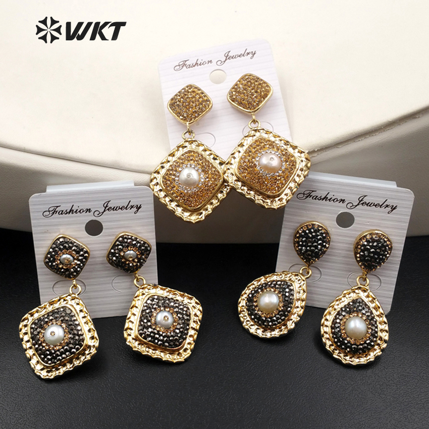 WKT New Fashion Dangle Earrings Natural Stone Rhinestone Crytal Paved Sparkling Boho Ear Jewelry for Female WT-RE057
