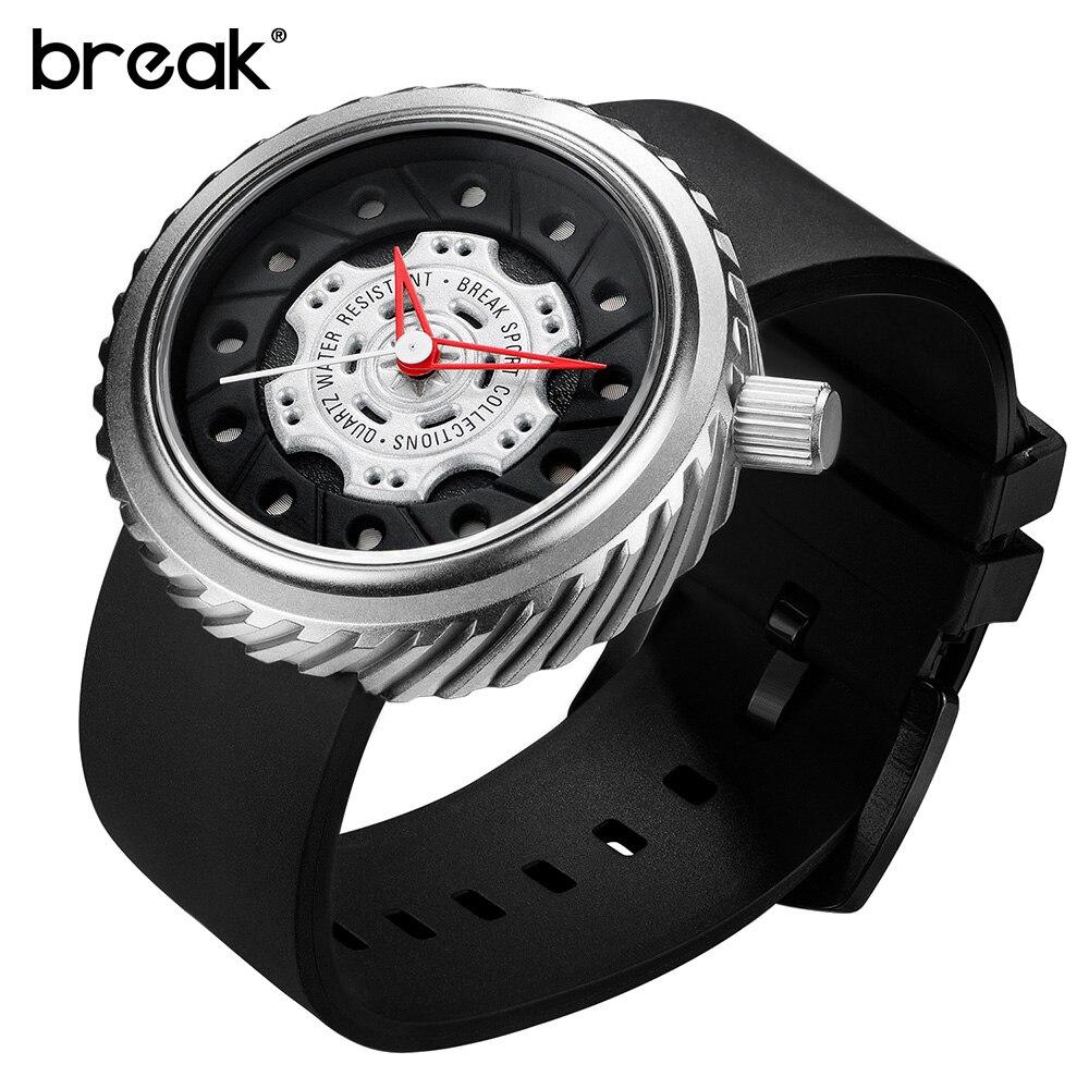 BREAK Mens Watches Top Luxury Brand Casual Clock Men Rubber Creative Military Sport Wrist Quartz Watch Gift Relogio Masculino<br>