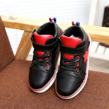 2016 New Autumn Children Sports Shoes Brand Breathable Boys PU Leather Sneakers for Girls Casual Stars Kids Flat Boots 25-37