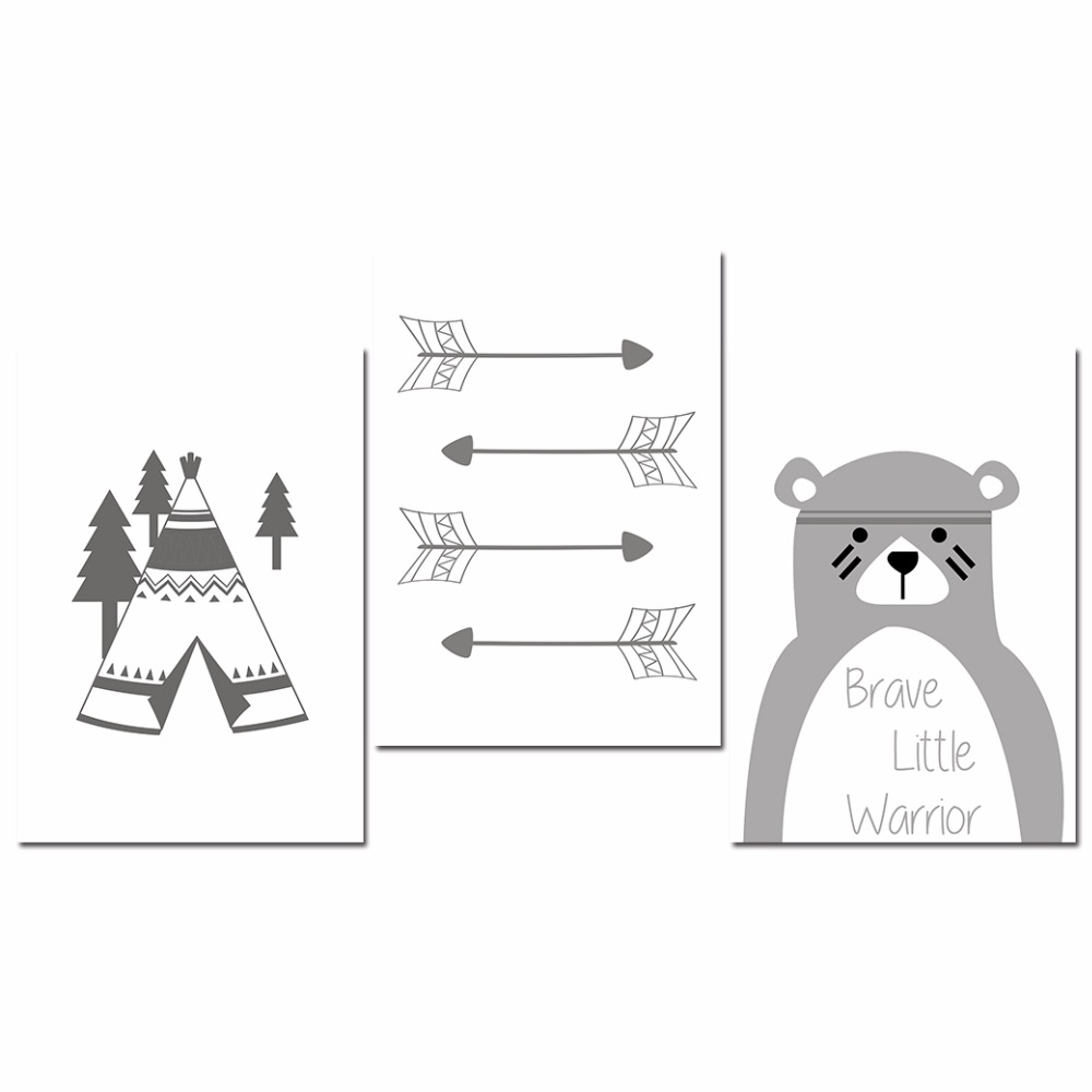 Tribe-Bear-Wall-Art-Canvas-Posters-Cartoon-Nursery-Prints-Nordic-Style-Painting-Wall-Pictures-Children-Bedroom(8)