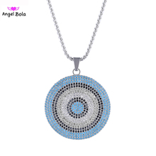 2017 Valentines Gift Rainbow Colors Micro Pave Cubic Zirconia Big Disco Pendant Iced Out Fine Necklace PK-010 Free Shipping(China)