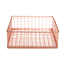 Rose Golden Office School Supplies Note Holder Organizer File Tray Mesh Wire Metal Document Tray Memo Holder Small Tray(China)