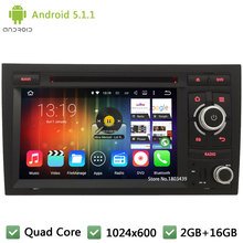 "Quad core Android 5.1.1 2Din 7"" 1024*600 Car DVD Player Radio PC Audio Stereo Screen GPS For Audi A4 S4 RS4 2002-2008 SEAT EXEO"