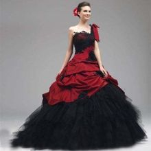 2017 Vintage Ball Gown Princess Black And Red Gothic Wedding Dresses One Shoulder 1950s Colorful Bridal Gowns Non White Custom