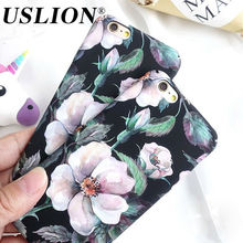 Retro Floral Caso de Telefone Para o iphone 7 Plus 8 Flor Camélia Telefone Duro Tampa Traseira Do caso Capa Coque Para iPhone X 6 6 s Plus 5 5S SE(China)