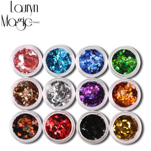12 Colors/Set Nail Art Acrylic 3D Rhombus Glitter Shape Sequins Powder