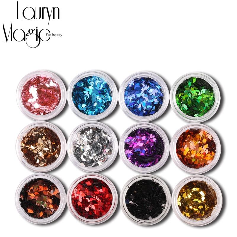 12 Colors/Set Nail Art Acrylic 3D Rhombus Glitter Shape Sequins Powder<br><br>Aliexpress