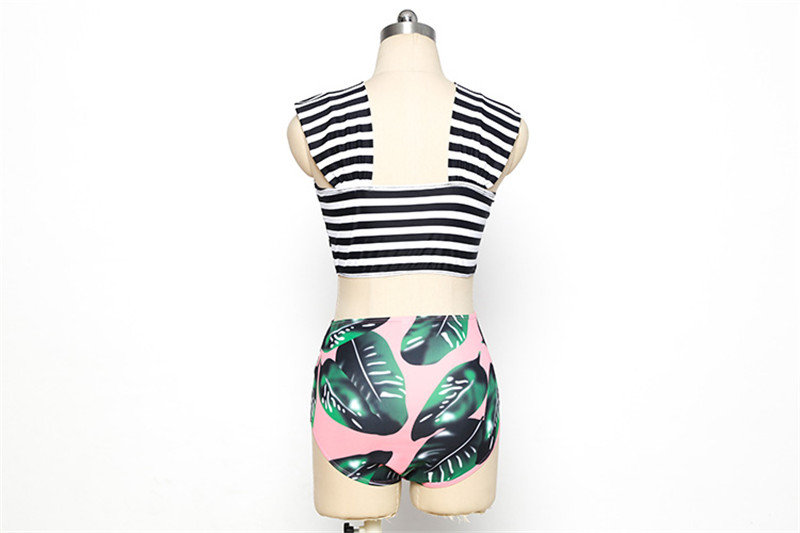 Striped Green Palm Leaf Bikini Cute Tankini Bandeau Off Shoulder Bikini Set High Waist Swimwear Women Swimsuit Female Biquini 8