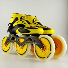 Adult, professional glassfiber, adult men and women, marathon speed, three speed, 125 straight row skates, skates, roller skates(China)