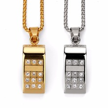 High-quality Fashion Whistling steel Pendants Necklaces hip hop chains for men Bling bling Rock Jewelry Gifts hiphop(China)
