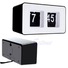 Retro Classic Stylish Clock Auto Flip Modern Desk Wall Digital Clock Home Decor(China)