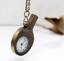 Fashion Bronze Table Tennis Racket Pocket Watch Necklace Vintage Jewelry wholesale  Sweater Chain Fashion  pocket watch