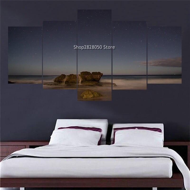 Hot 5 Piece Landscape Picture Customized Canvas Wall Art Large Print Photo Interior  Paint Companies Modular