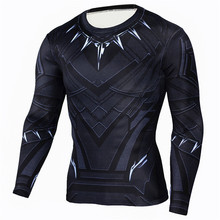 Hot Sell Men Long Sleeve Bodybuilding Shirts Flash Black Panther T-shirts Fitness Compression Crossfit Slim Fit Top Tees Shirt(China)