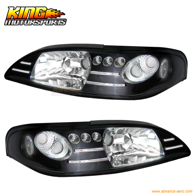 For 1994-1998 Ford Mustang 1Pc Style Headllights Black Pair With White Corner USA Domestic Free Shipping(China)