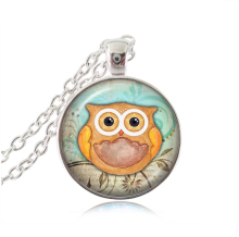 Lovely owl neckalce glass cabochon pendant bird jewelry handmade necklace women bijoux animal choker neckless men long necklaces(China)