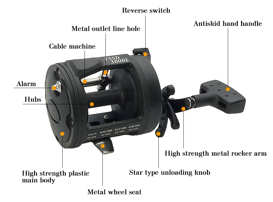 K8356 3.81 1BB Trolling Reel Fishing TSSD 3000L4000L Black Right Hand Casting Sea Fishing Reel Saltwater Baitcasting Reel Coil 6