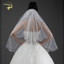 80cm Long !  Wholesale New Pearls ! Free Shipping ! Two Layers Bridal Veil Wedding Veils BRIDAL ACCESORIES Flower VEIL OV3914