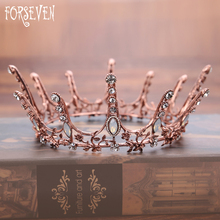 FORSEVEN Vintage Wedding Hair Accessory Crystal Prom Queen Tiara Princess Bridal Crown Pageant Rhinestone Hair Jewelry