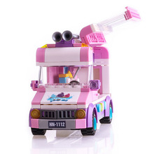 Toy Ice cream truck Block 213pcs Educational DIY Construction Bricks Mobile ice cart With Role Dolls Compatible Legoelied Lepin