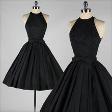 Simple But Elegant Chiffon Black Bridesmaid Dresses Vintage 1950's Little Black Party Dress Tea Length Short Maid Of Honor Gowns