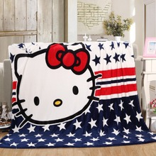 150*200cm Hello Kitty Cat n Multifunction blankets soft coral fleece thin plaids print Blanket on the Bed/Sofa/Car(China)