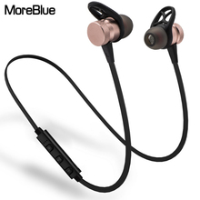 MoreBlue Wireless Bluetooth Headphones Metal Magnetic Stereo Bass Earphones Sport Running Headset Earbuds Handsfree With Mic