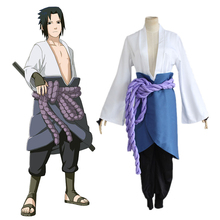 Naruto Uchiha Sasuke Costume Play kimono Anime Comic Clothing Halloween Christmas (Top+Pant+Waist Rope+Apron+Handguard)