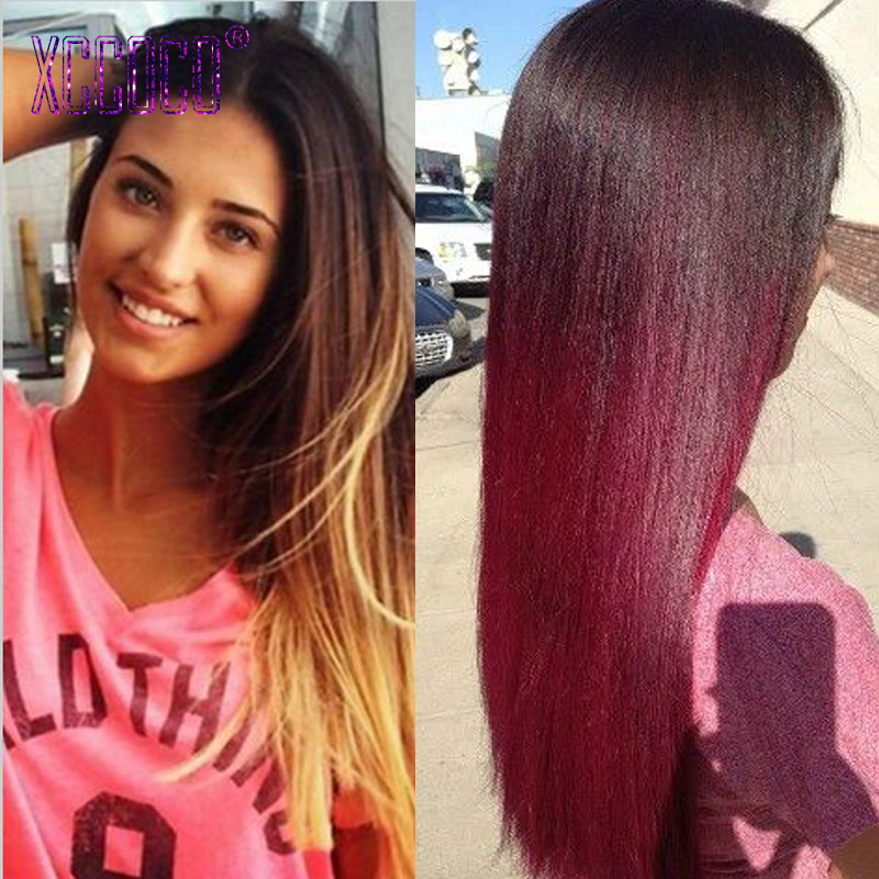 7A Ombre Brazilian Hair Mink Straight Two Tone Color Brazilian Hair Ombre Blonde/Red/ 1B/27 Burgundy Brazilian  Ombre Human Hair<br><br>Aliexpress
