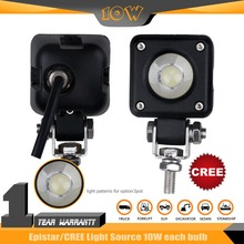 2PCS 10W square LED Work light 800LM SPOT Beam black high power Off Road UTV ATV 6000-6500K