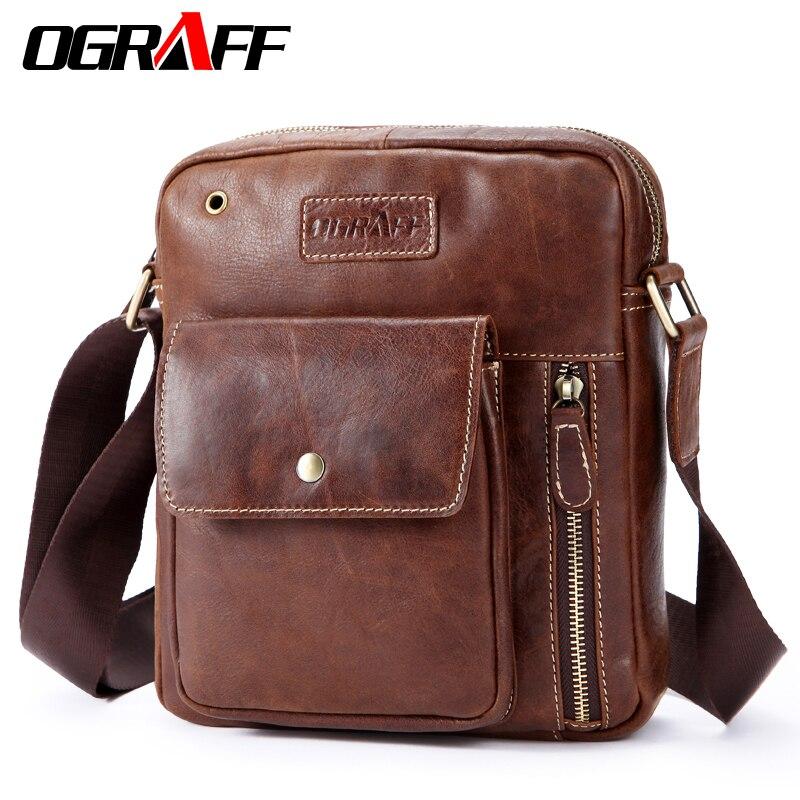 OGRAFF Men bag Shoulder Bags Genuine Leather Bags Male Small Shoulder Handbags 2018 Luxury Designer Men Messenger Bag Cross Body<br>