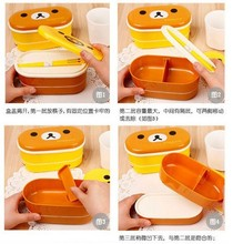 1 piece dinner pail canteen Rilakkuma Bento Nostrils Chickens Multilayer Children cartoon brown bear Bento lunch box