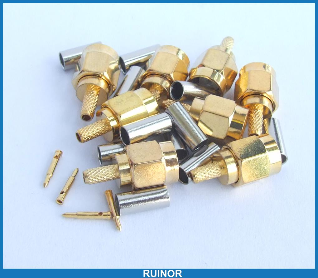 100pcs Copper SMA Male Crimp Connector for RG178 RG196 Coaxial Cables<br>
