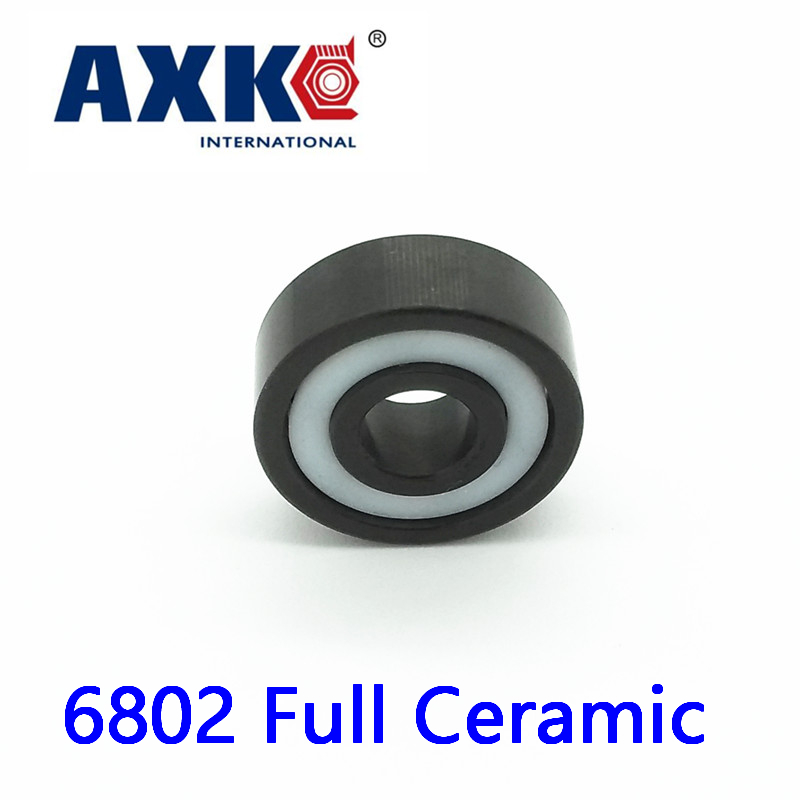 AXK 6802 Full Ceramic Bearing ( 1 PC ) 15*24*5 mm Si3N4 Material 6802CE All Silicon Nitride Ceramic 6802 Ball Bearings<br>