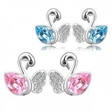 Wholesale Jewelry Austria Crystal Swan Stud Earring Silver Plated Fashion Accesories For Women Wedding Bride Jewellery