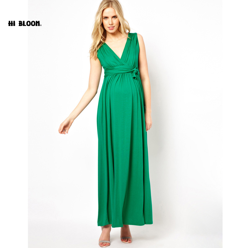 Happy  Brand Maternity Clothes V-Neck Long Evening Gowns Dress For Pregnant Women Pregnancy Prom Dress Red Green Vestidos<br>