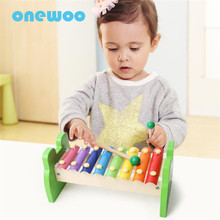 Eight Scale Piano Beat Toys Children Early Education Color Octave Music Toys Children Wooden Piano Instruments Cute Animal Toys(China)