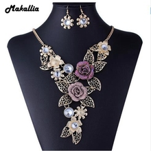 Hot Products Charming Resin Rose Necklace Set Set Fashionable Hollow Leaf Sunflower Jewelery Set For The Party Girft