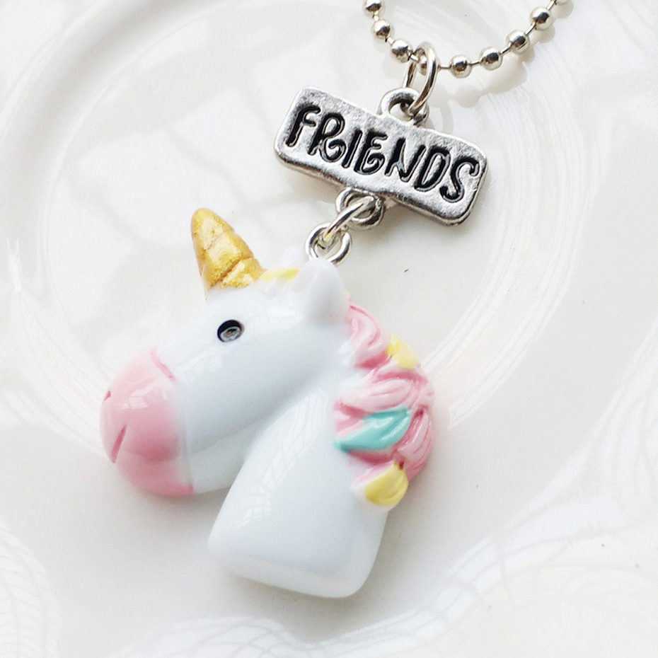 2PCS/Lot Best Friends Unicorn Pendant Necklaces