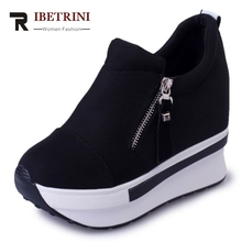 RIBETRINI Wedges Women Boots 2017 New Platform Shoes Woman Creepers Slip On Ankle Boots Fashion Casual Women Shoes