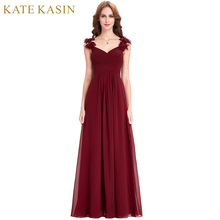 Bridesmaid Dresses Long Chiffon Applique Prom Dresses Cheap Floor Length Wedding Bridesmaid Gown Formal Burgundy Dress 2018(China)