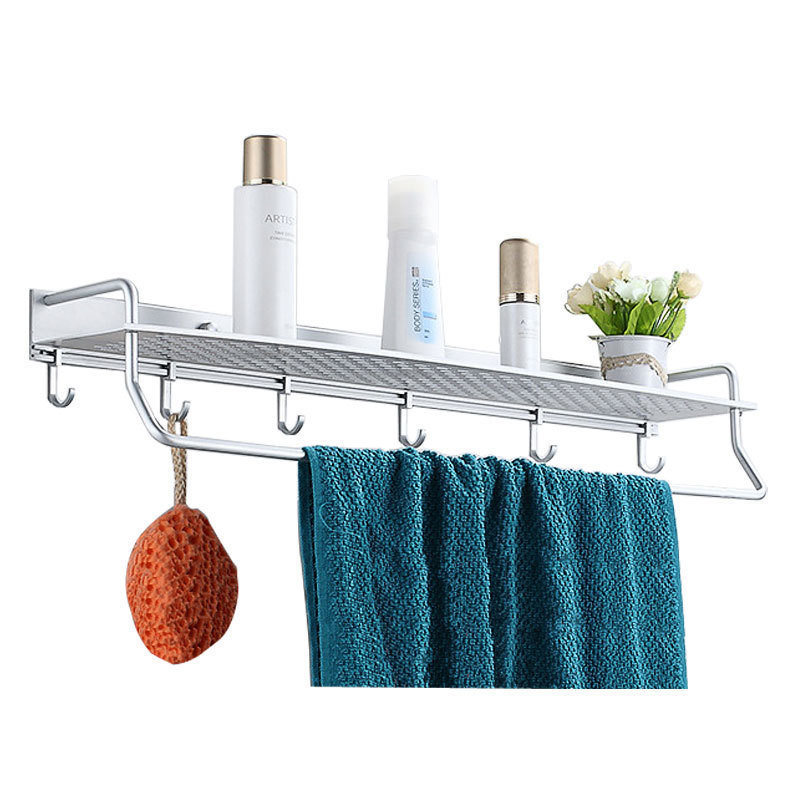 40/50/60cm Aluminum Kitchen Bathroom Wall Mounted Shelf Basket Shelves Storage Rack With Towel Shower Bar Hooks 801516<br>