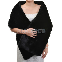 Hot Sale Winter Black Wedding Bridal Wrap Cover Bridesmaid Evening Party Shawl Stole Bolero Women's Accessory One Size PJ160002